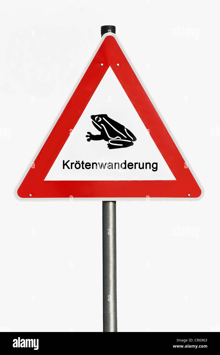 Danger sign, toad migration, toad pictogram - Stock Image