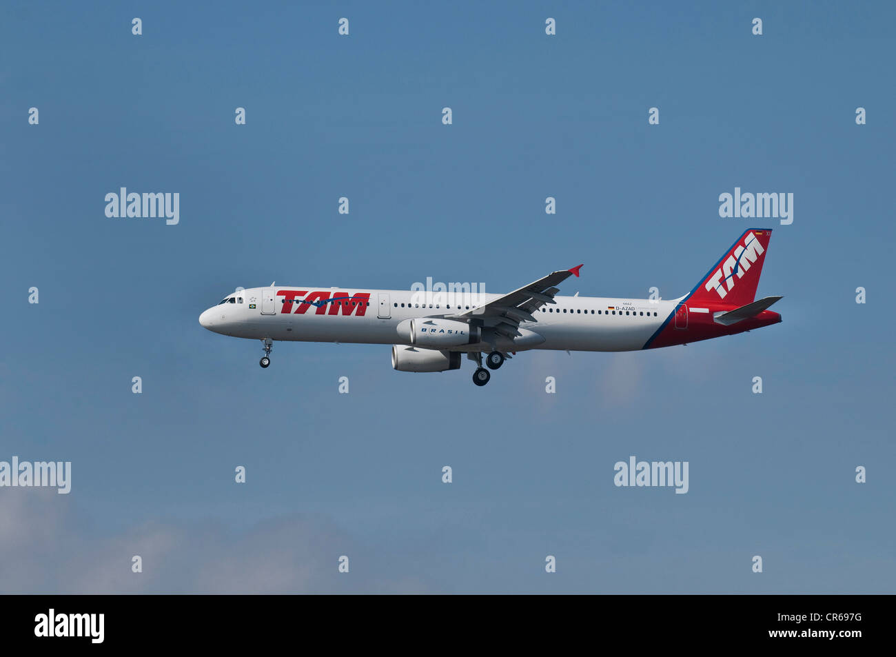 Brazil's TAM Airlines passenger plane in flight - Stock Image