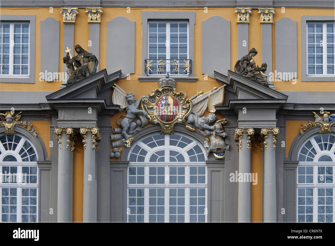 View from south of the renovated Koblenz Gate, coat of farms of Clemens August of Bavaria, Bonn, North Rhine-Westphalia - Stock Image