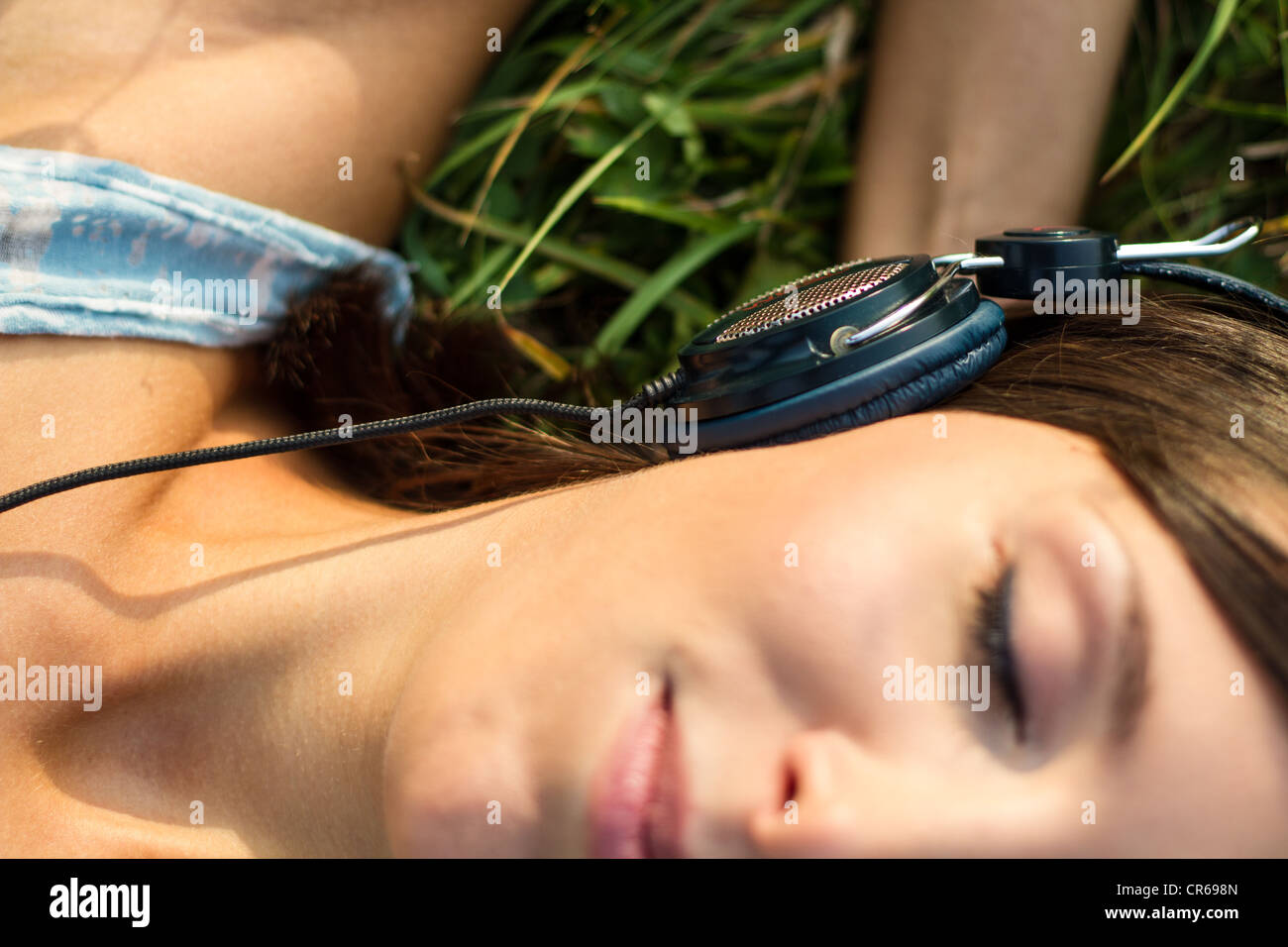 music in grass - Stock Image