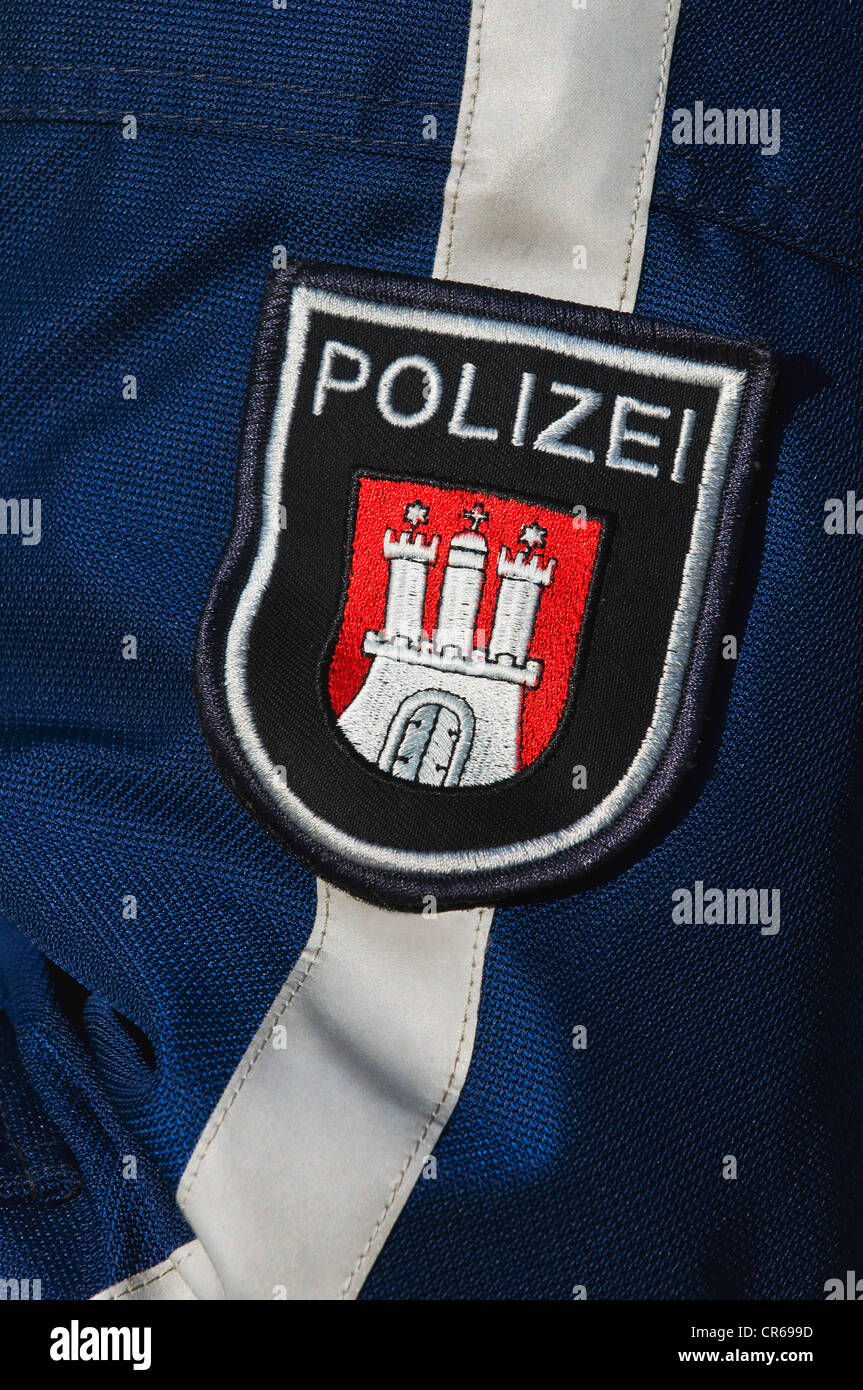 Police badge, motorcycle police of the Hanseatic City of Hamburg, Germany, Europe - Stock Image