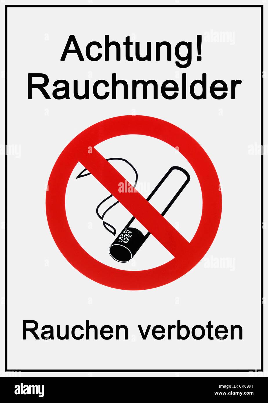 Sign, 'Achtung, Rauchmelder, Rauchen verboten', German for 'caution, smoking detector, smoking prohibited', - Stock Image