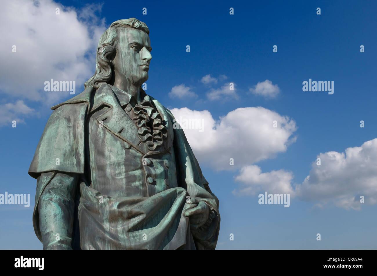 Patinated bronze statue, Schiller monument in the Furtwaenglergarten park, Salzburg, a UNESCO World Heritage Site, - Stock Image