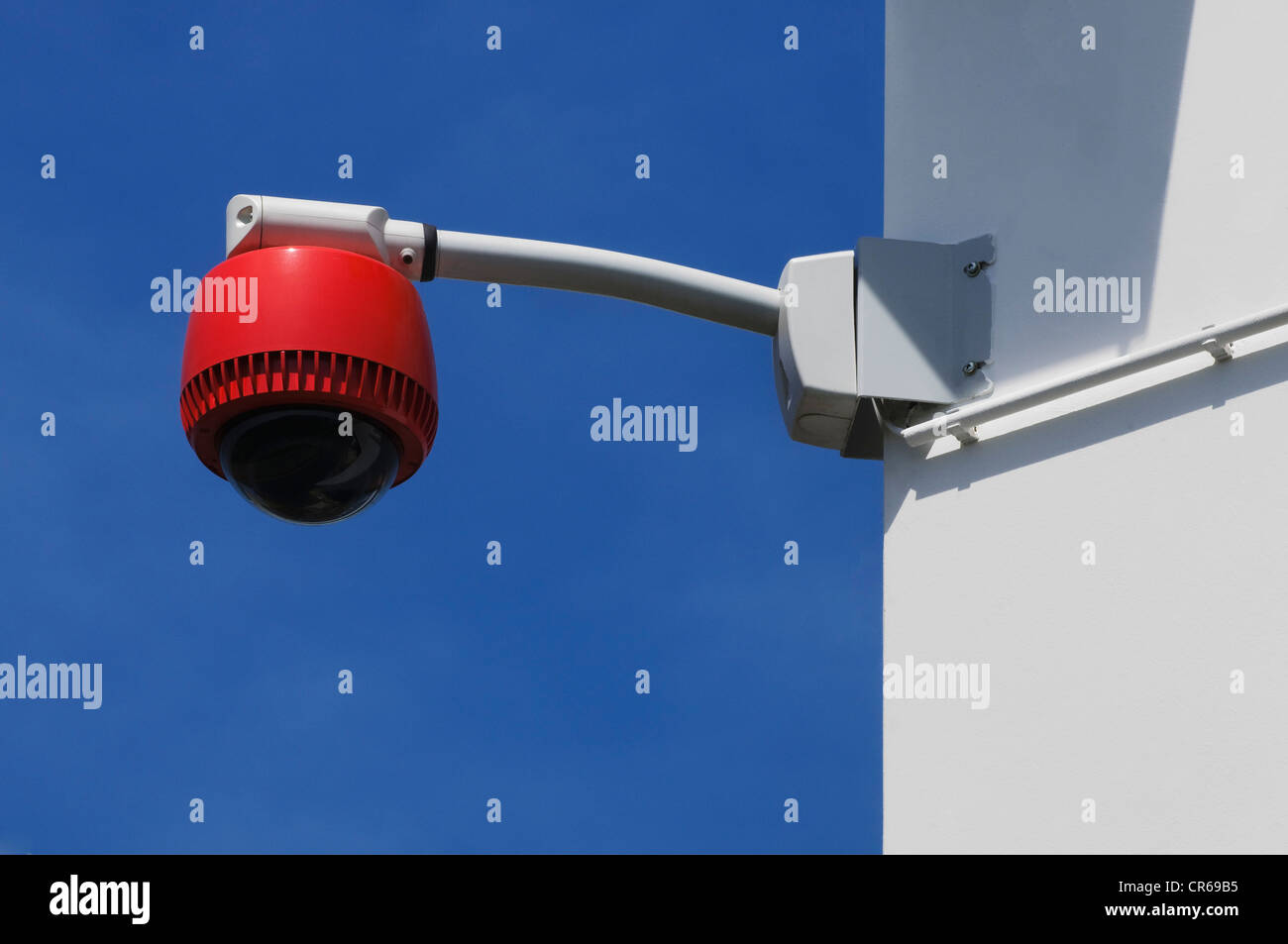 360° surveillance camera on the corner of a building corner, security - Stock Image