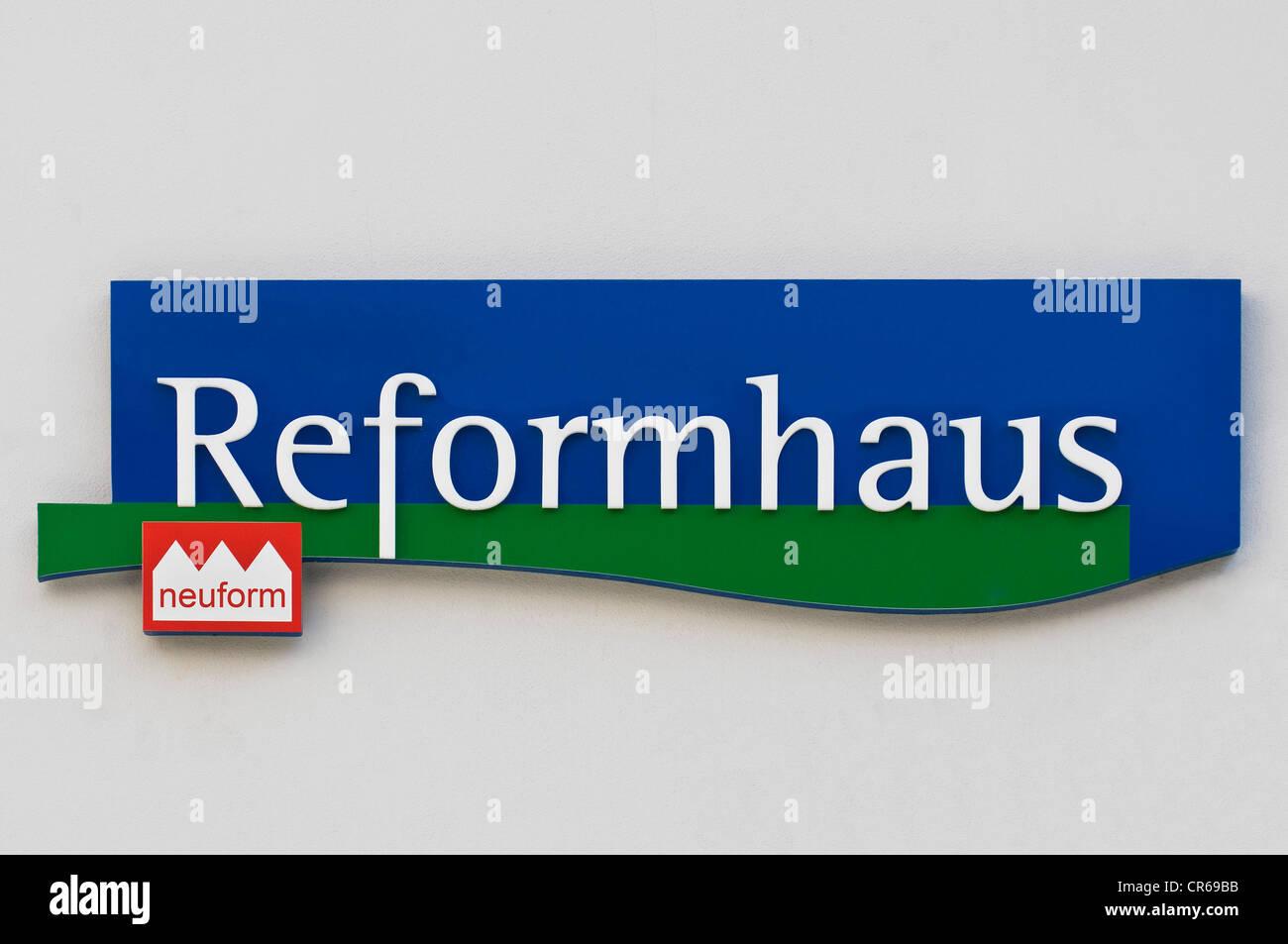 Logo, Neuform Reformhaus, cooperative health food stores from a union of Deutscher Reformhaeuser eG and neuform - Stock Image