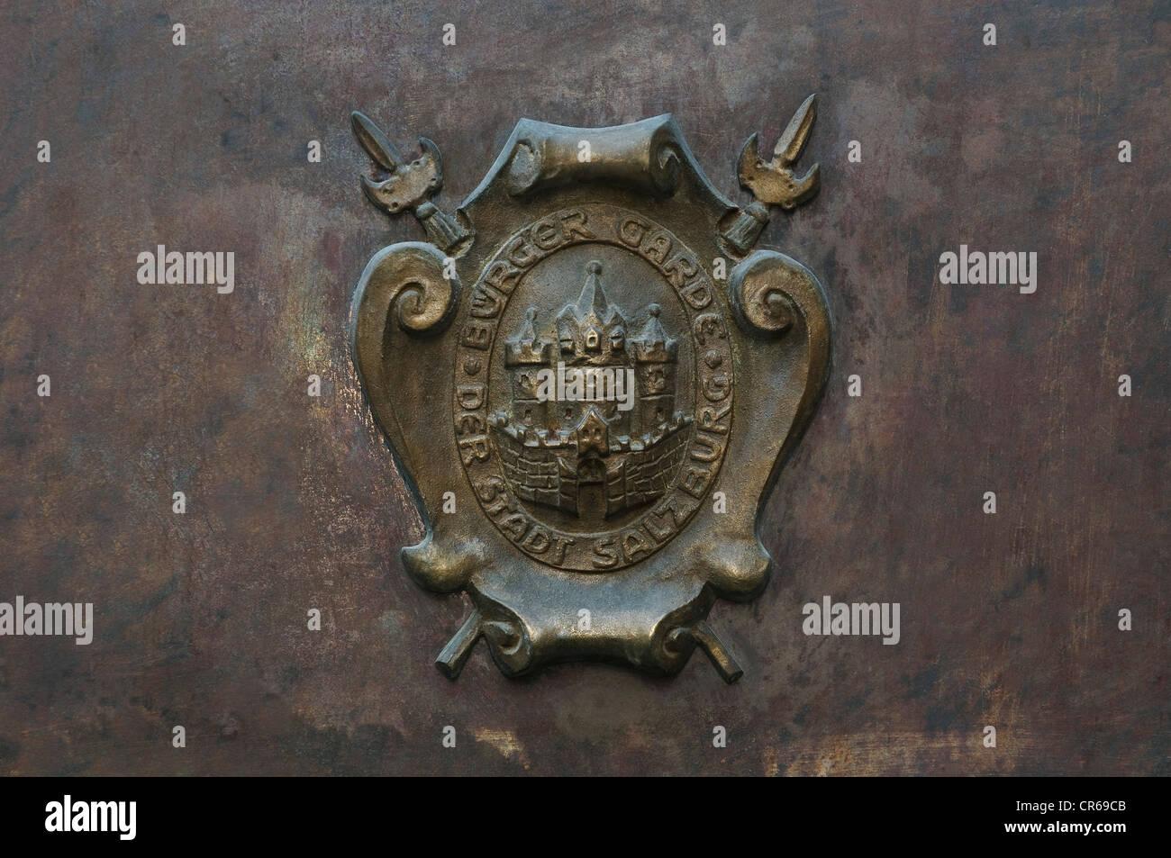 Civil Guard crest of Salzburg, Austria, Europe - Stock Image