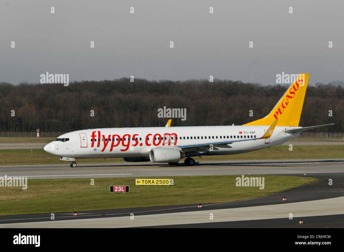 Turkish Pegasus Airlines Boeing 737-82R with winglets, runway sign TORA 2500, Takeoff Run Available, the maximum - Stock Image
