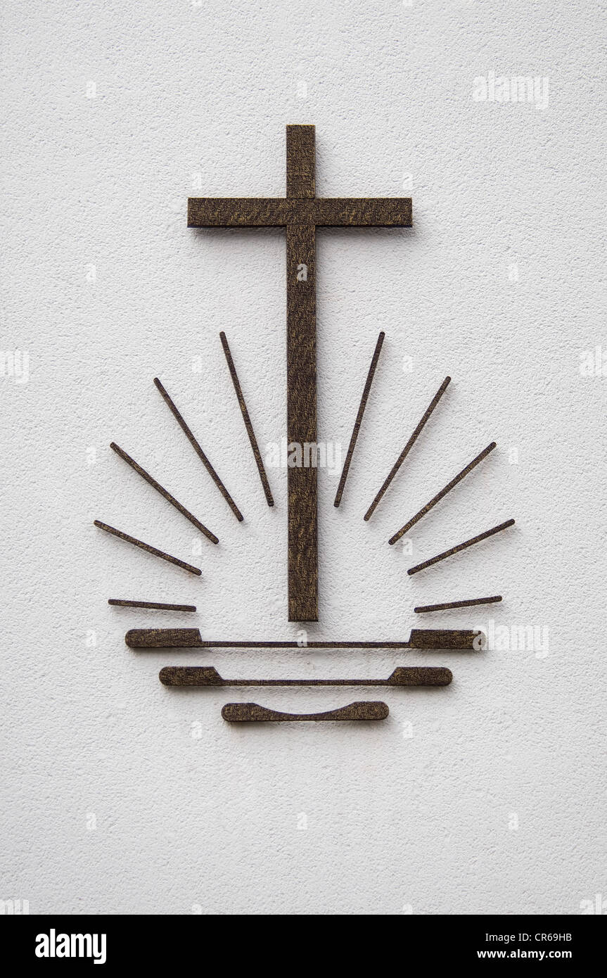 Symbols of the Old Catholic church, cross, sun on waves - Stock Image