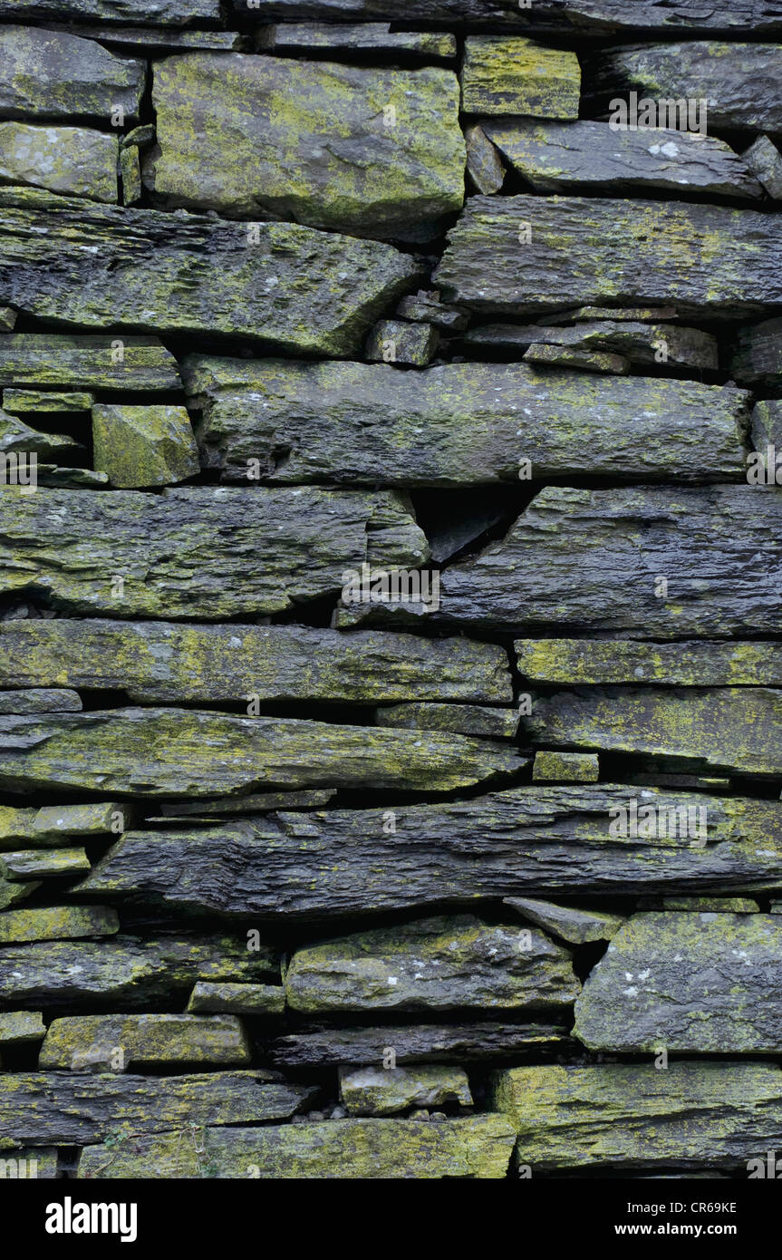 Slate, natural stone wall, background - Stock Image