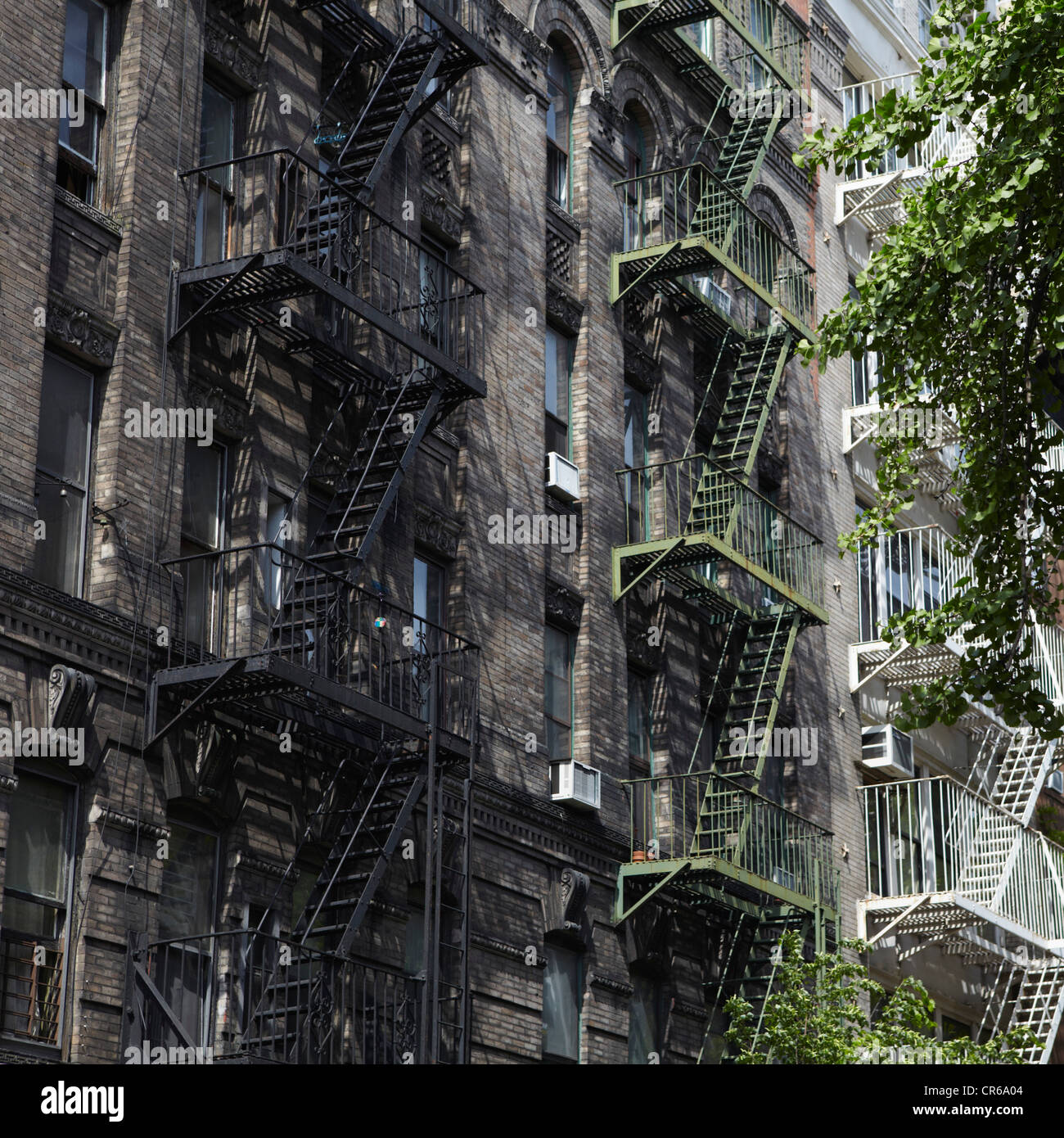 USA, New York, Building with fire escape staircases - Stock Image