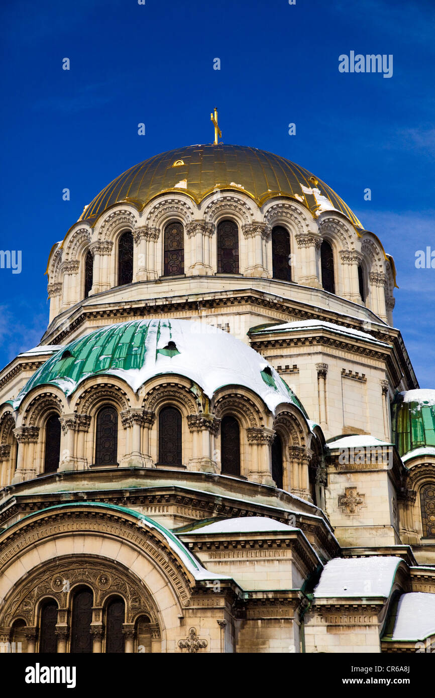 Alexander Nevsky Memorial Cathedral Church in Winter in Sofia, Bulgaria - Stock Image
