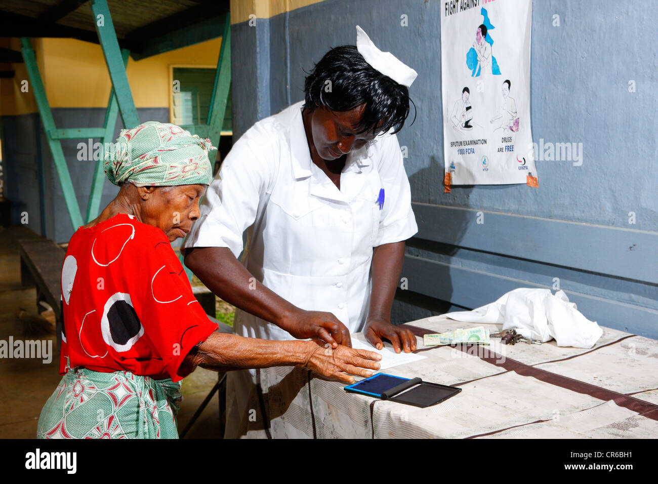 Leper signing with a thumb print, TB and leprosy settlement, Manyemen, Cameroon, Africa - Stock Image
