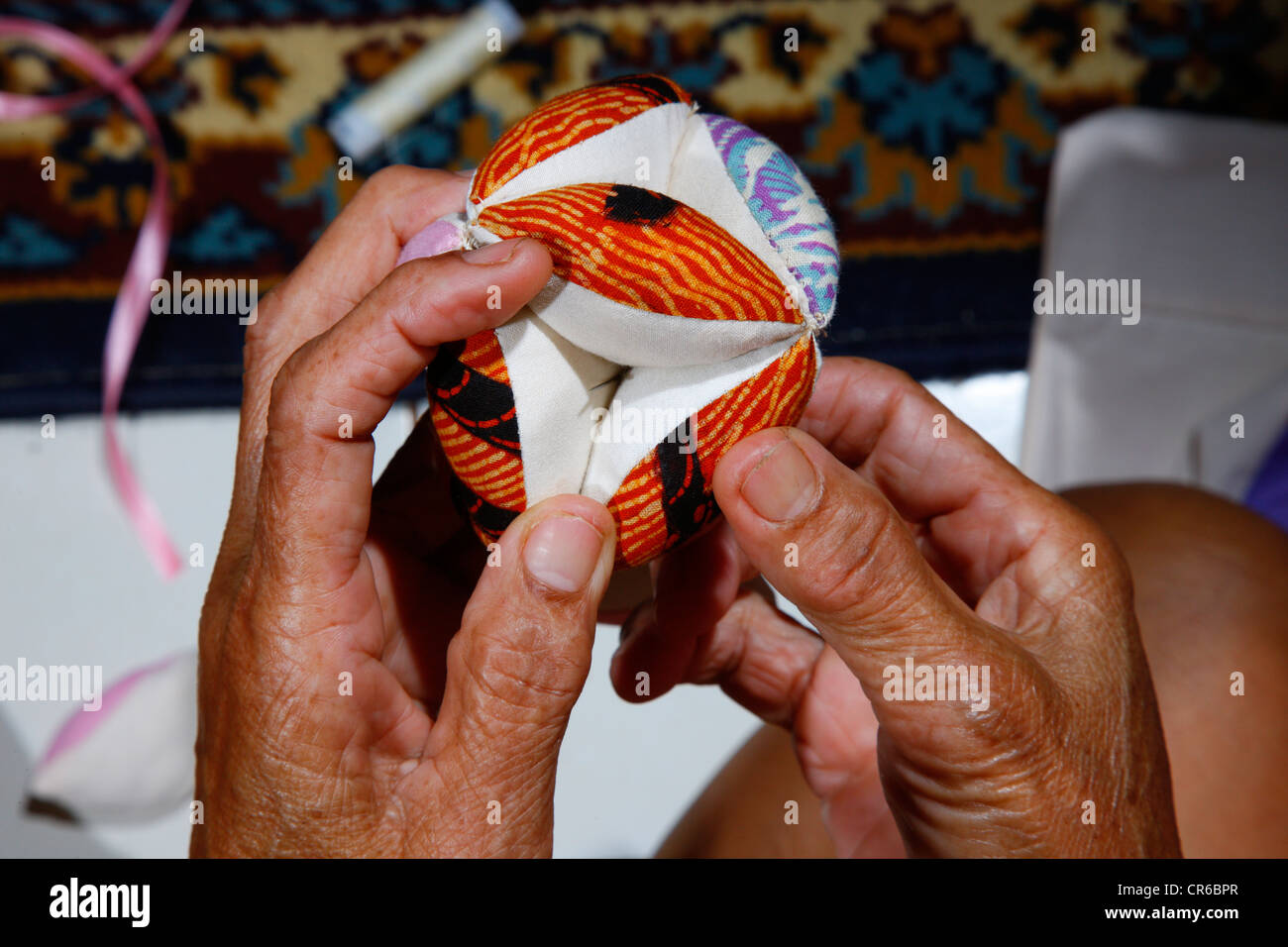 Woman making patchwork, detail hof the ands, artisan, Palalangon, Bandung, Java, Indonesia, Southeast Asia Stock Photo