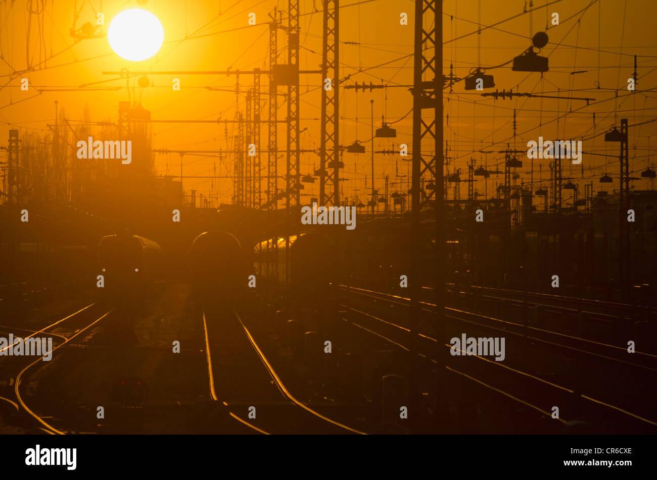 Germany, Bavaria, Munich, View of main station at sunset - Stock Image