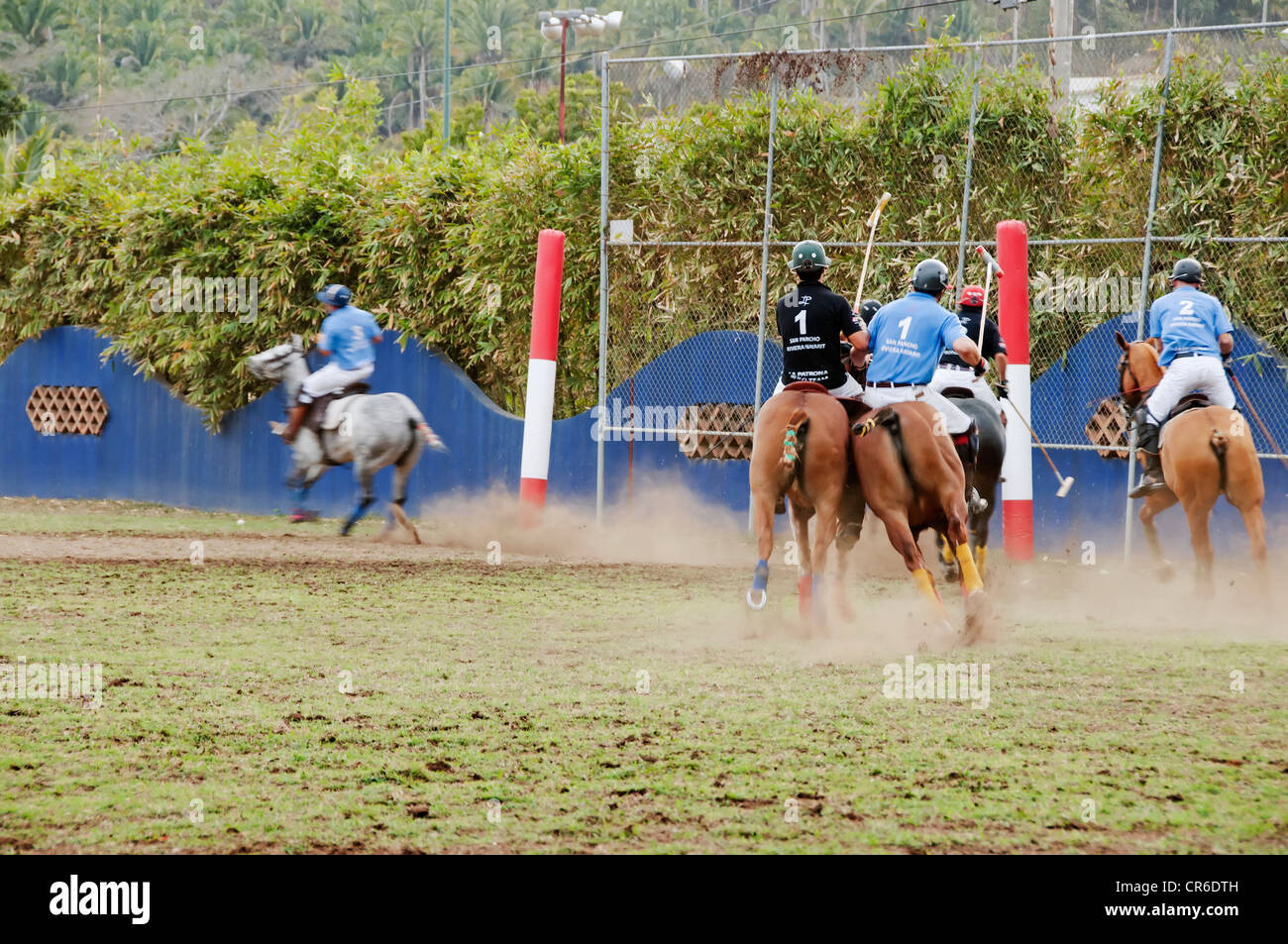 Riders on their polo ponies approach the goal posts during a fast paced match at La Patrona Polo Club in Nayarit, - Stock Image