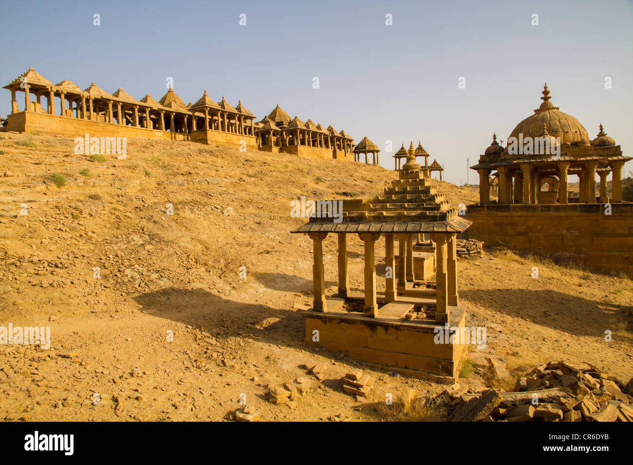 India, Rajasthan, Jaisalmer, View of Bada Bagh Cenotaphs - Stock Image