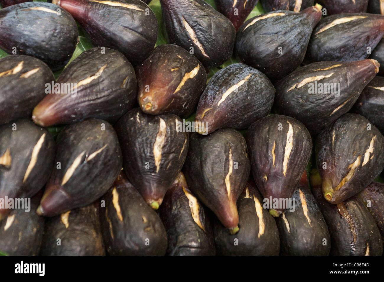 Spain, Malaga, Full frame of figs - Stock Image
