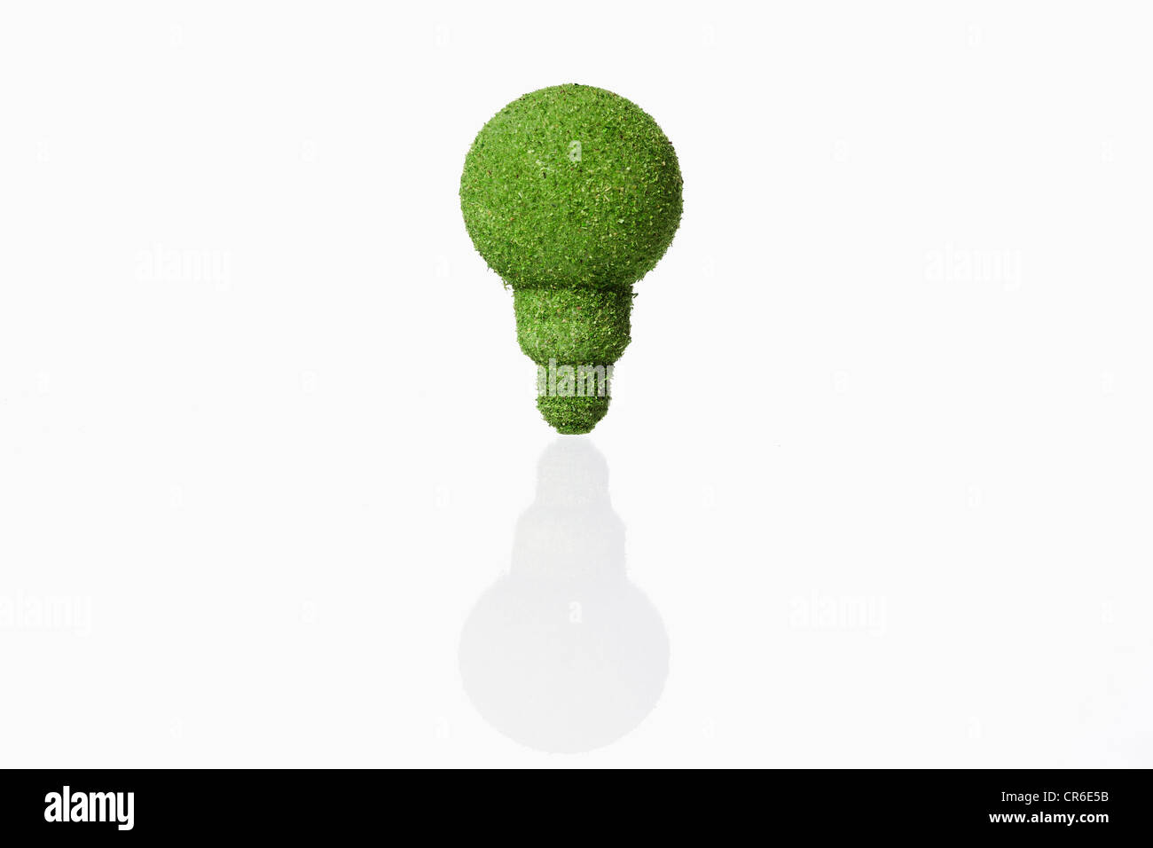 Lightbulb covered with grass on white background - Stock Image