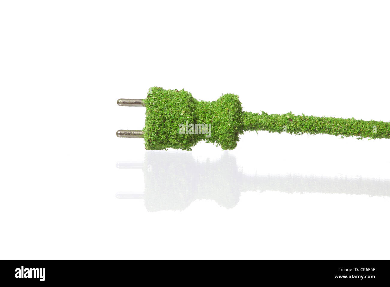 Electric plug covered with grass on white background - Stock Image