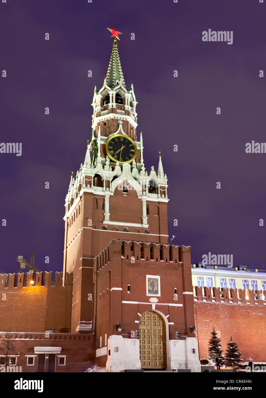 Spasskaya tower of Moscow Kremlin - Stock Image