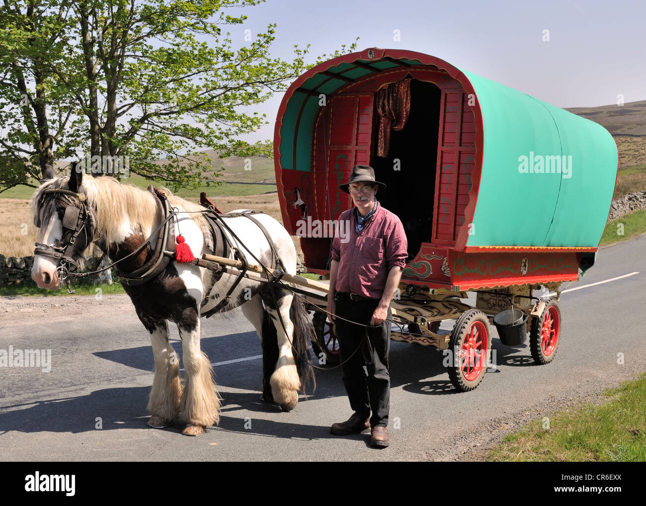 Cornish traveller en-route to the Appleby Horse Fair, Garsdale Head, Yorkshire, England - Stock Image