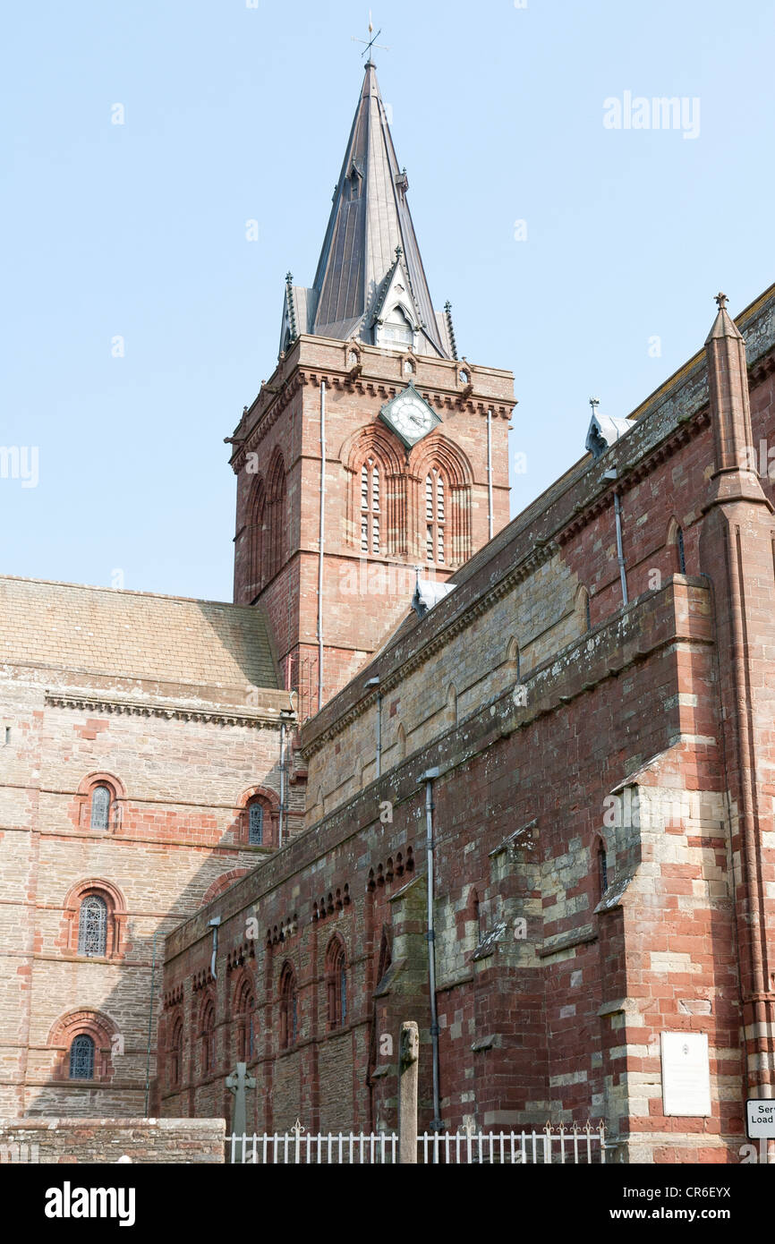 Saint Magnus cathedral in Kirkwall on the Orkney Islands - Stock Image