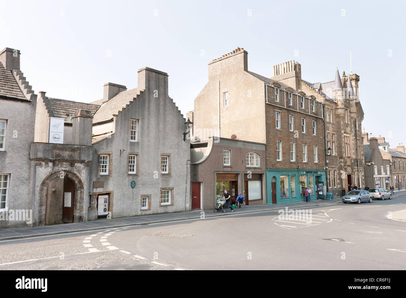 An urban street scene in Kirkwall on the Orkney Islands - Stock Image