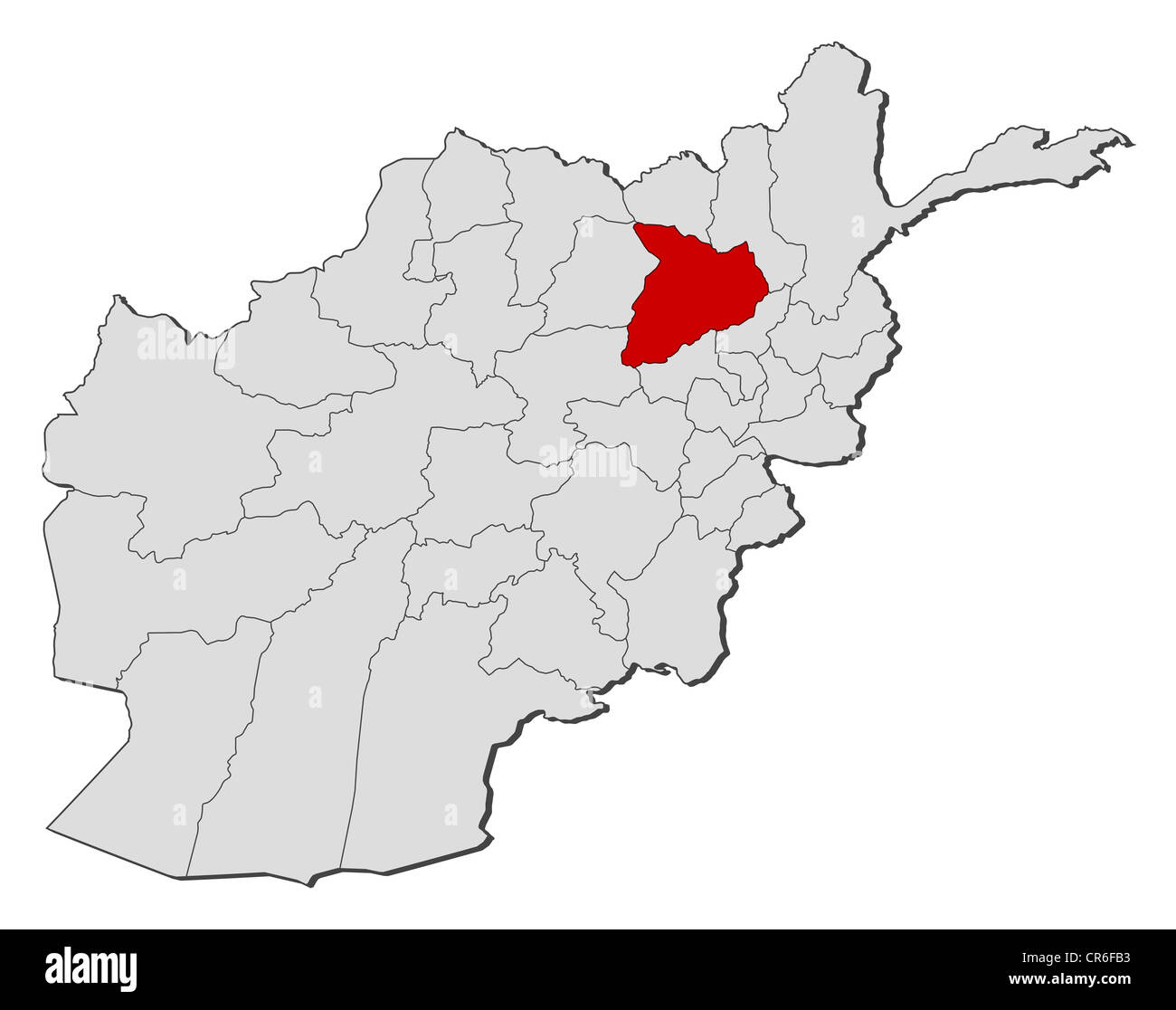 Political Map Of Afghanistan With The Several Provinces Where