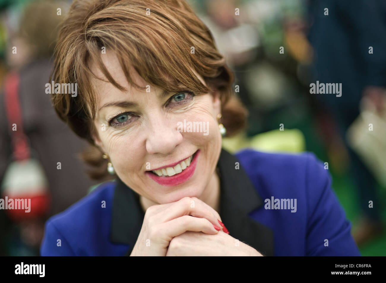 Kathy Lette, Australian author pictured at The Telegraph Hay Festival 2012, Hay-on-Wye, Powys, Wales, UK - Stock Image