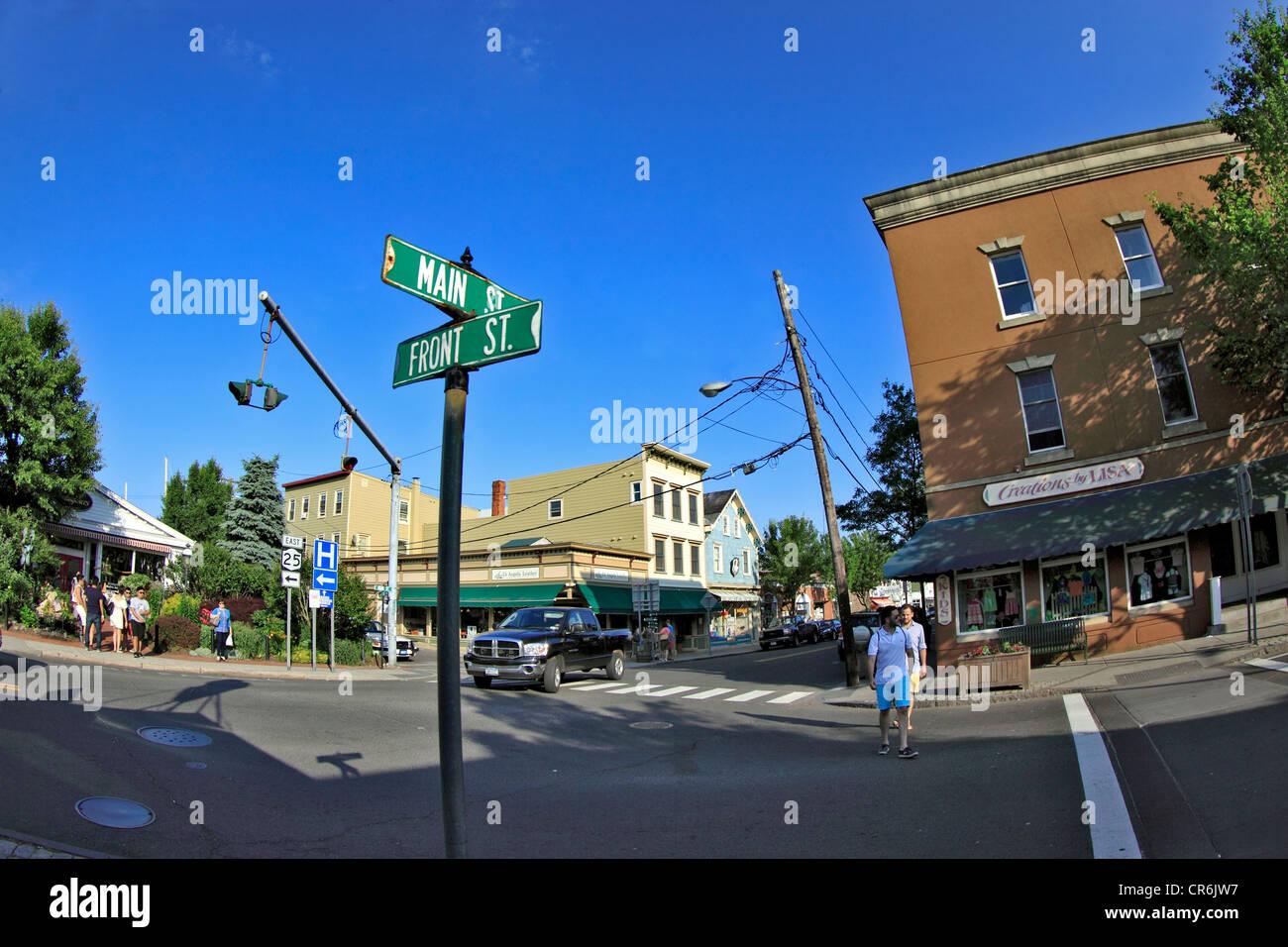 Main St. Village of Greenport Long Island New York - Stock Image