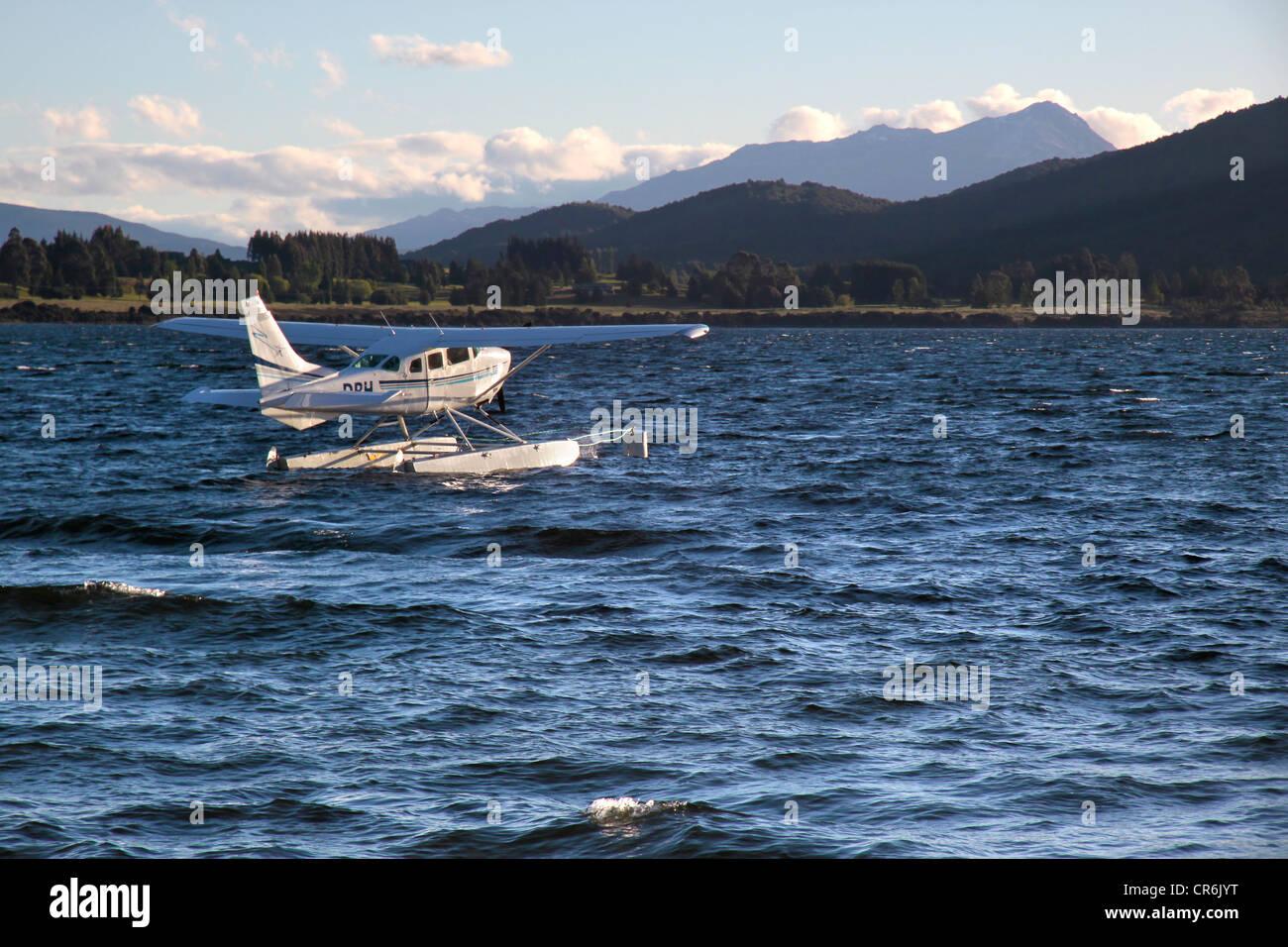 Flying boat on the Lake Te Anau, South island, New Zealand - Stock Image