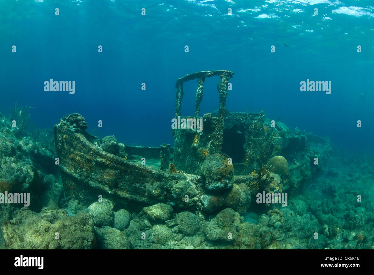 Wreck, tugboat, at a depth of 7 meters, gravel bay off Caracas Island, Curacao, former Netherlands Antilles, Caribbean - Stock Image