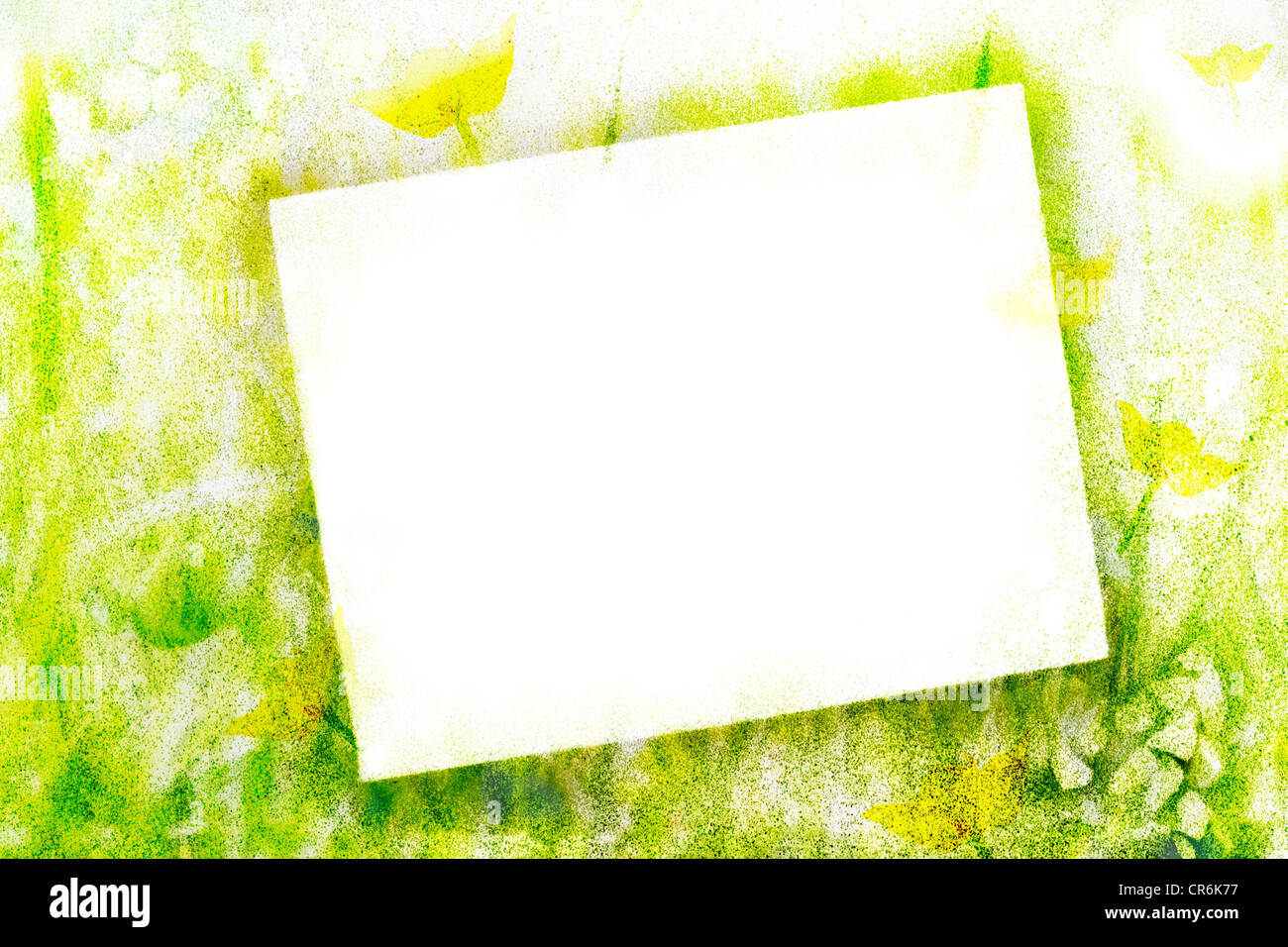 Airbrushed frame and background in green tones - Stock Image