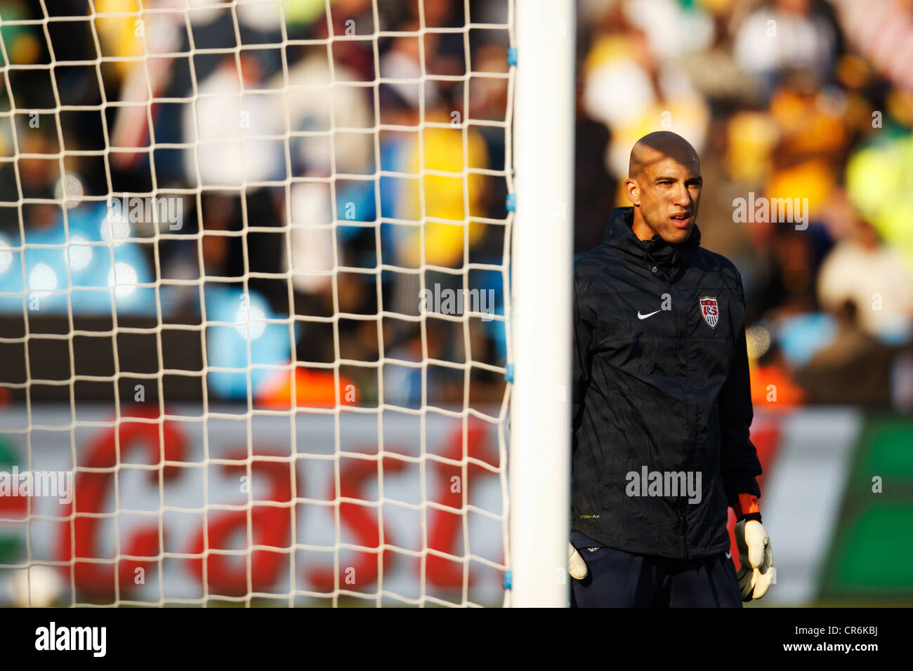 Goalkeeper Tim Howard of the United States warms up before a 2010 FIFA World Cup soccer match against Algeria. - Stock Image
