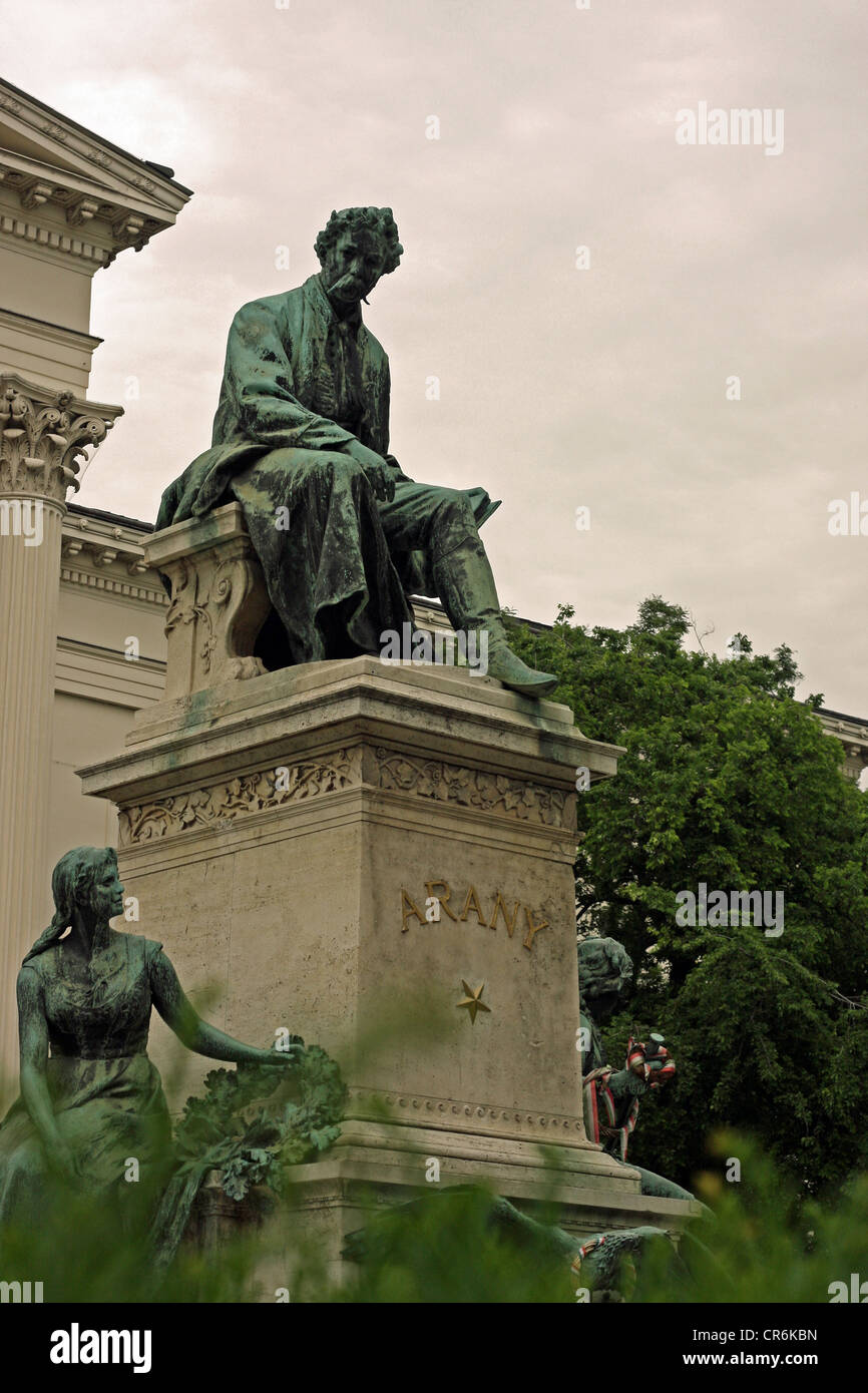 Monument to poet János Arany, in garden of the Hungarian National Museum, Budapest Stock Photo