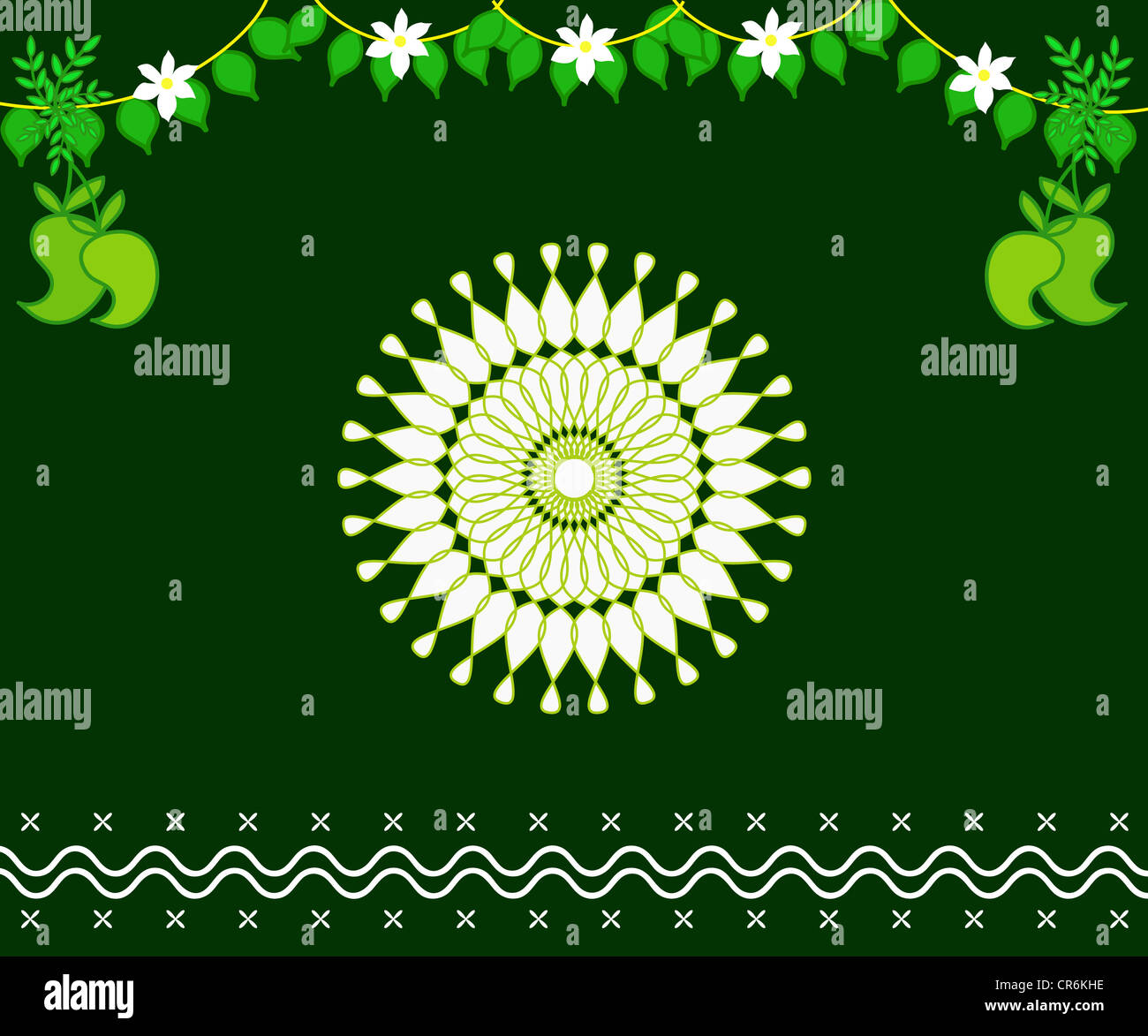 Artistic Indian design rangoli with mango and leaves decoration Stock Photo