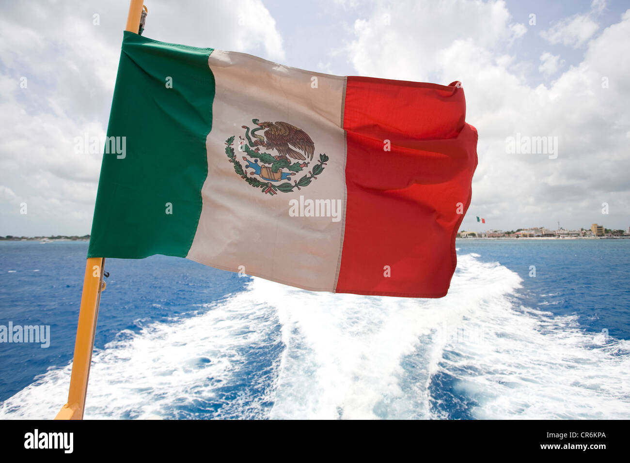 National flag of Mexico on a ferry, Cozumel, Mexico, Caribbean - Stock Image