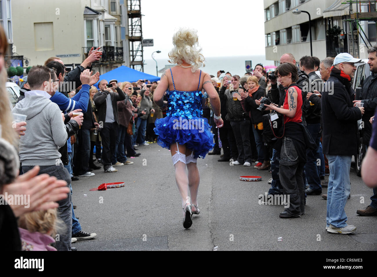 Easter Drag Queen race in Western St Brighton to raise cash for local charities - Stock Image