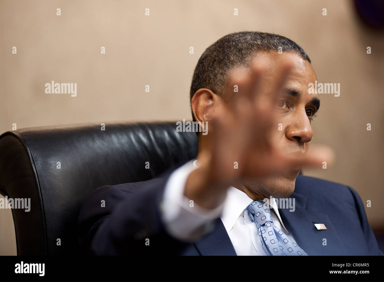 US President Barack Obama holds a meeting in the Situation Room of the White House May 31, 2012 in Washington, DC. - Stock Image
