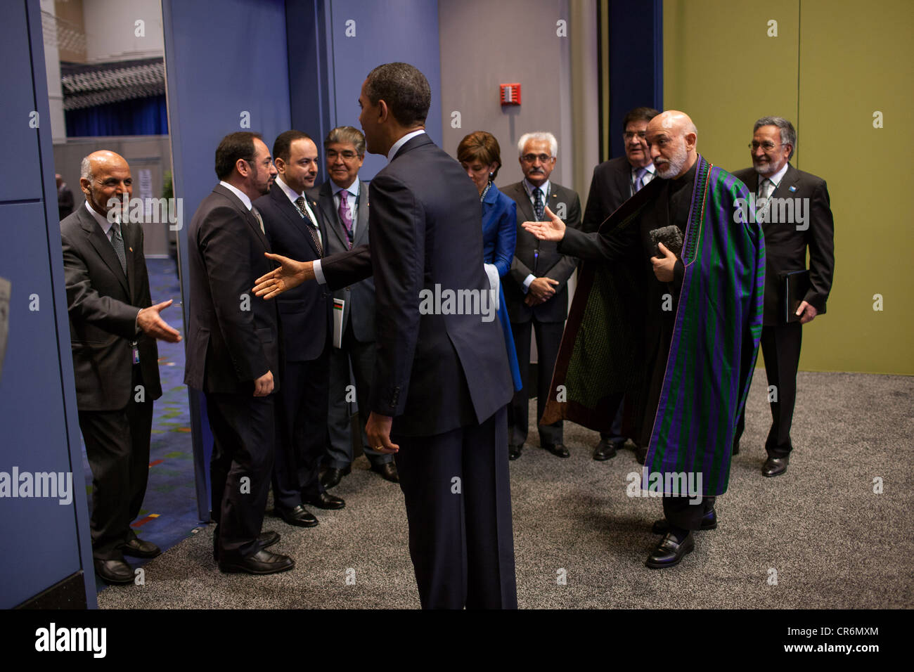 President Hamid Karzai of Afghanistan presents members of the Afghan delegation to US President Barack Obama before - Stock Image