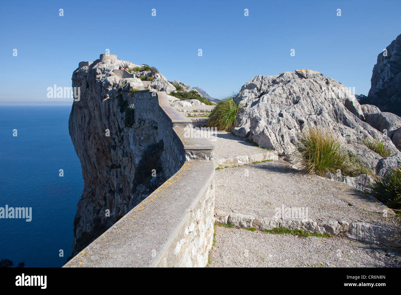 Look-out point of Mirador de Mal Pas, on the road to Cap Formentor, Majorca, Balearic Islands, Spain, Mediterranean - Stock Image