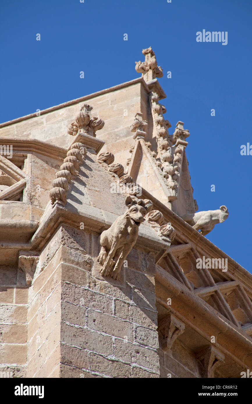 Mythical creatures on the roof of the cathedral of La Seu, historic town centre, Palma, Majorca, Balearic Islands, - Stock Image
