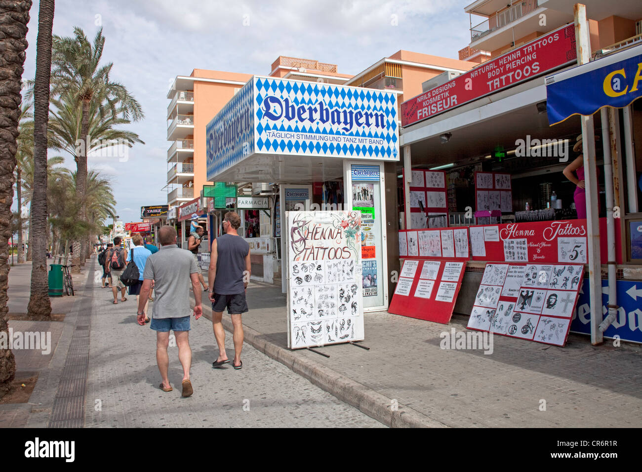 Oberbayern, popular restaurant and disco on Ballermann, tattoo shop, Playa de Palma, , Majorca, Balearic Islands, - Stock Image