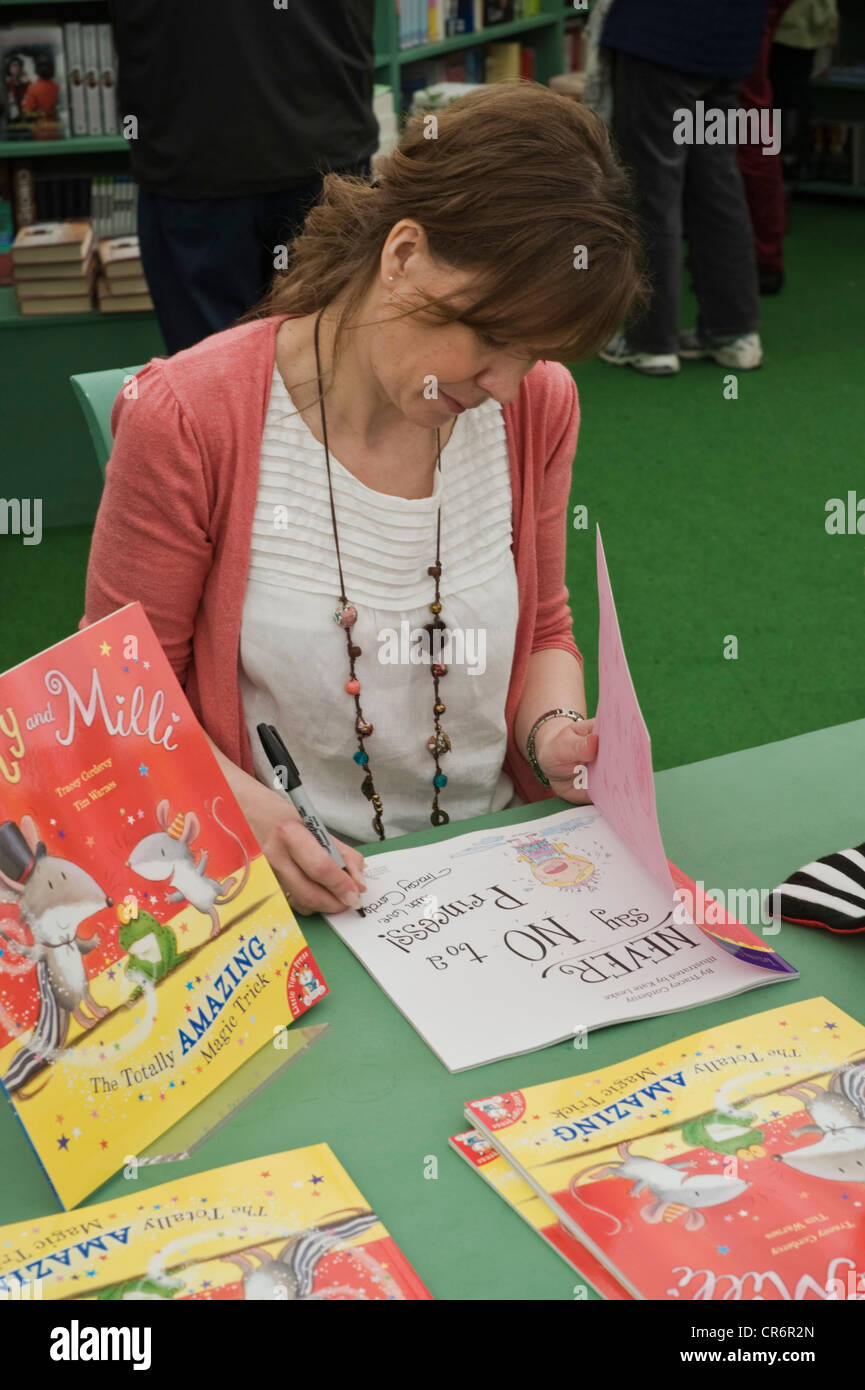 Tracey Corderoy, children's book author pictured book signing at The Telegraph Hay Festival 2012, Hay-on-Wye, - Stock Image