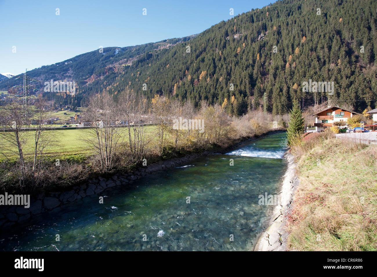 Ziller River, Mayrhofen, popular resort town in the Zillertal valley, Schwaz district, Zillertal valley, Tyrol, - Stock Image