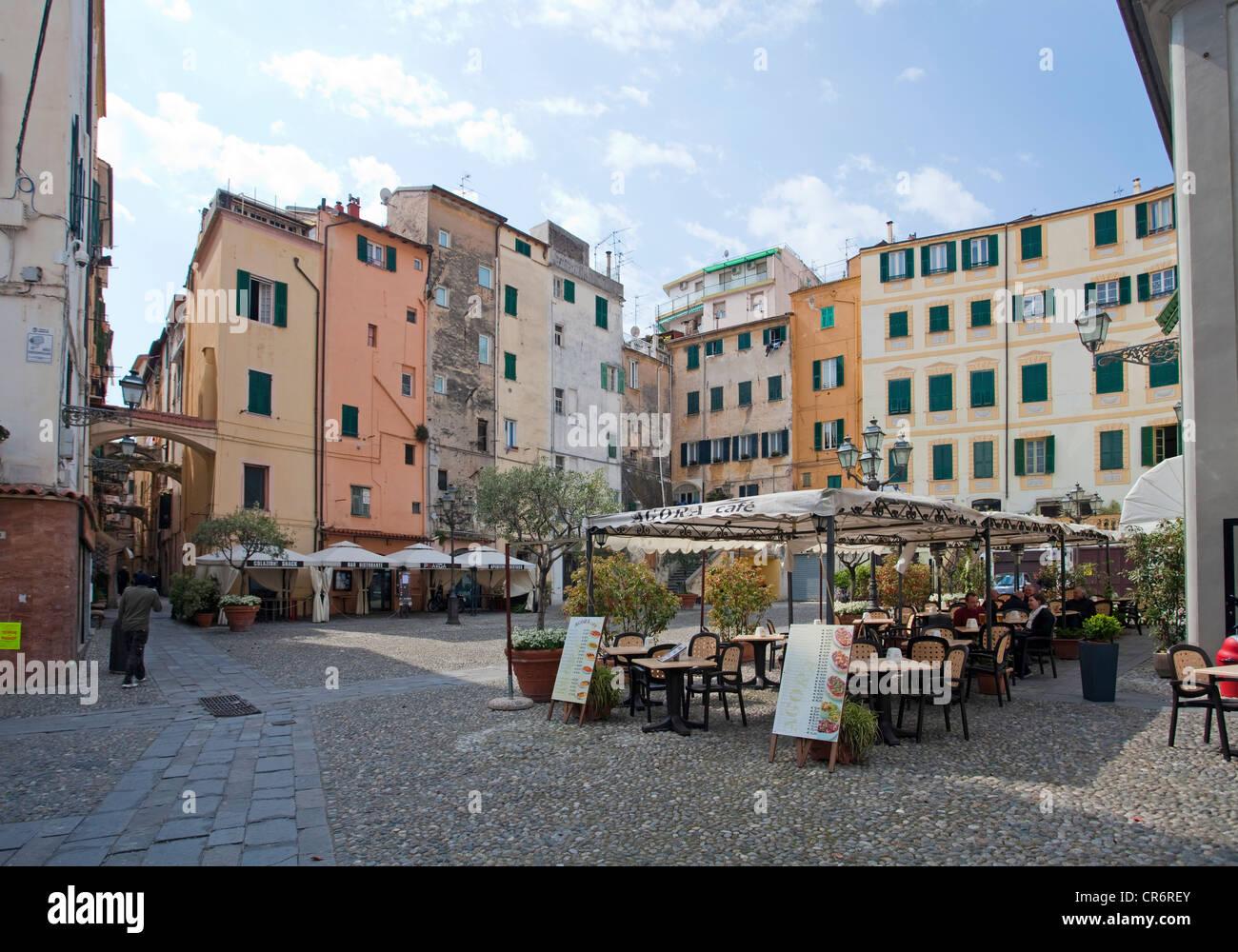 Piazza San Siro square, La Pigna, historic district of , harbour town on the Ligurian coast or Riviera di Ponente, Stock Photo