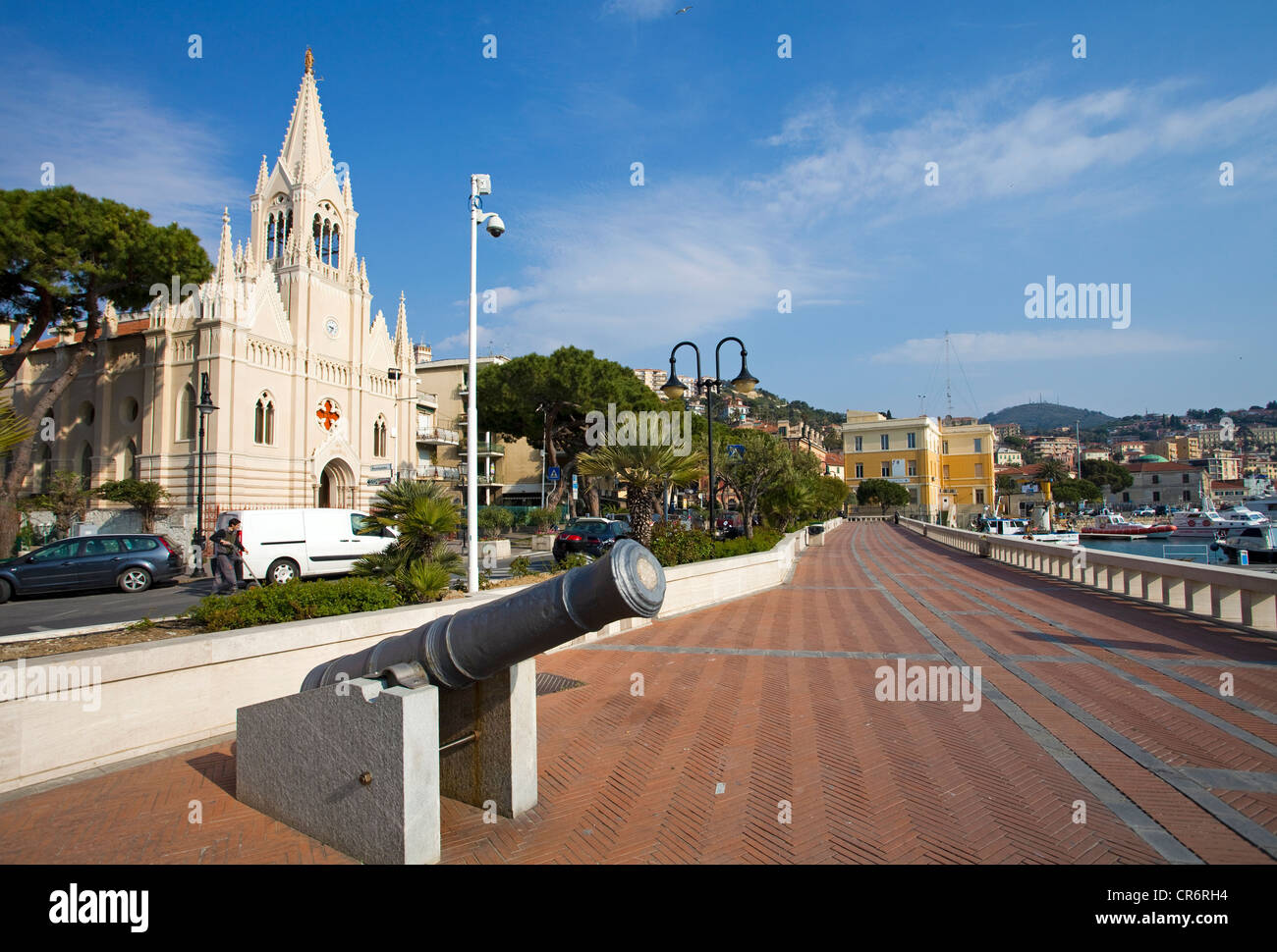 Promenade at Porto Maurizio, Church of the sailors, , port city on the Ligurian coast, Riviera di Ponente, Liguria, - Stock Image