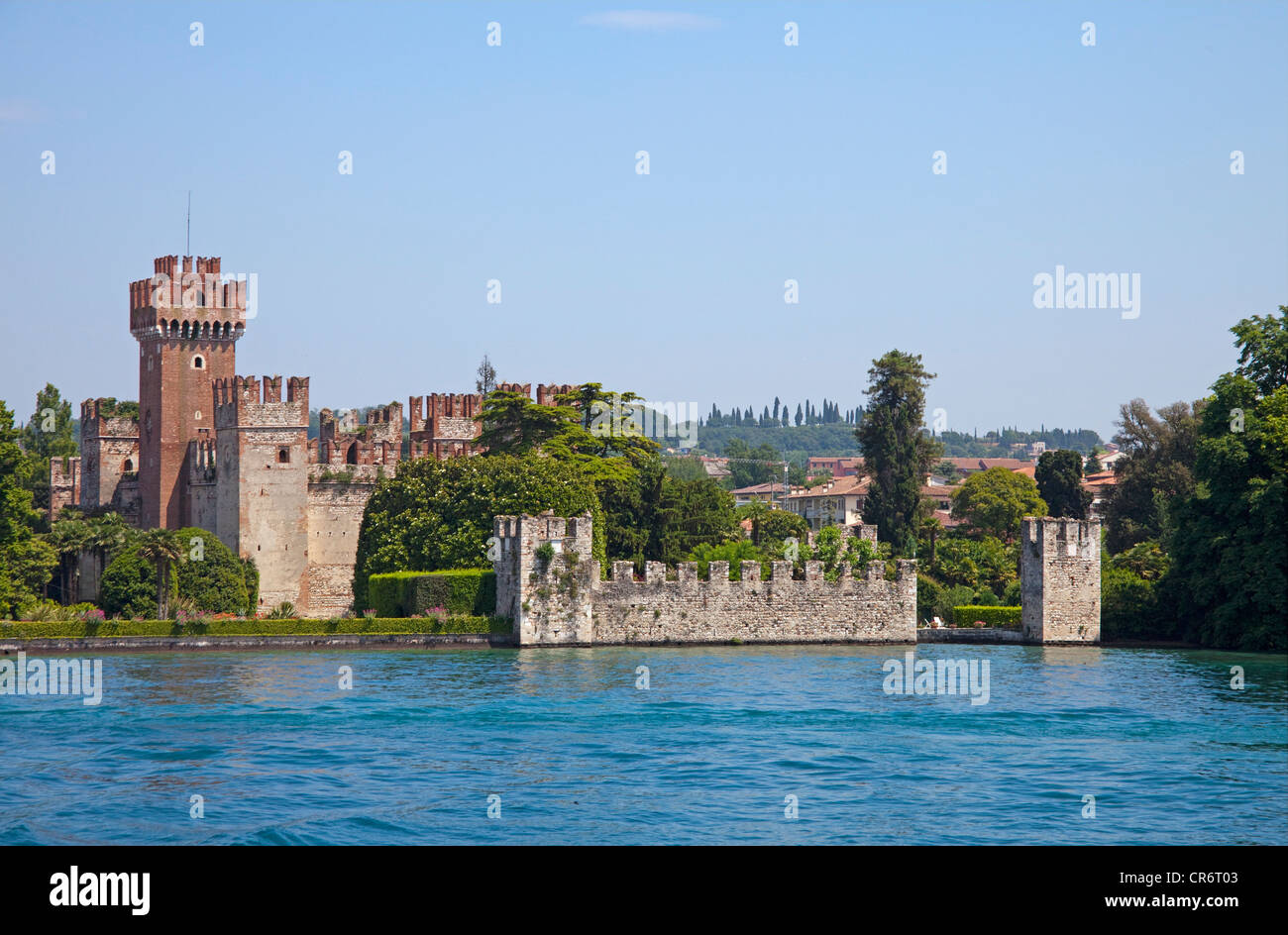 Scaliger castle, 9th century, one of the best preserved fortifications on Lake Garda, , Verona province, Veneto, - Stock Image