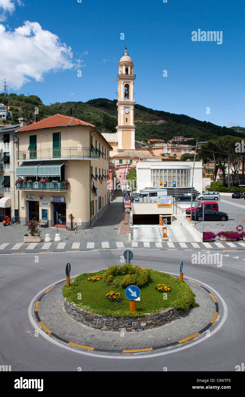 Village view, roundabout, belfry of the church of Santa Croce, 18th century, old town, , Genoa Province, Liguria, - Stock Image