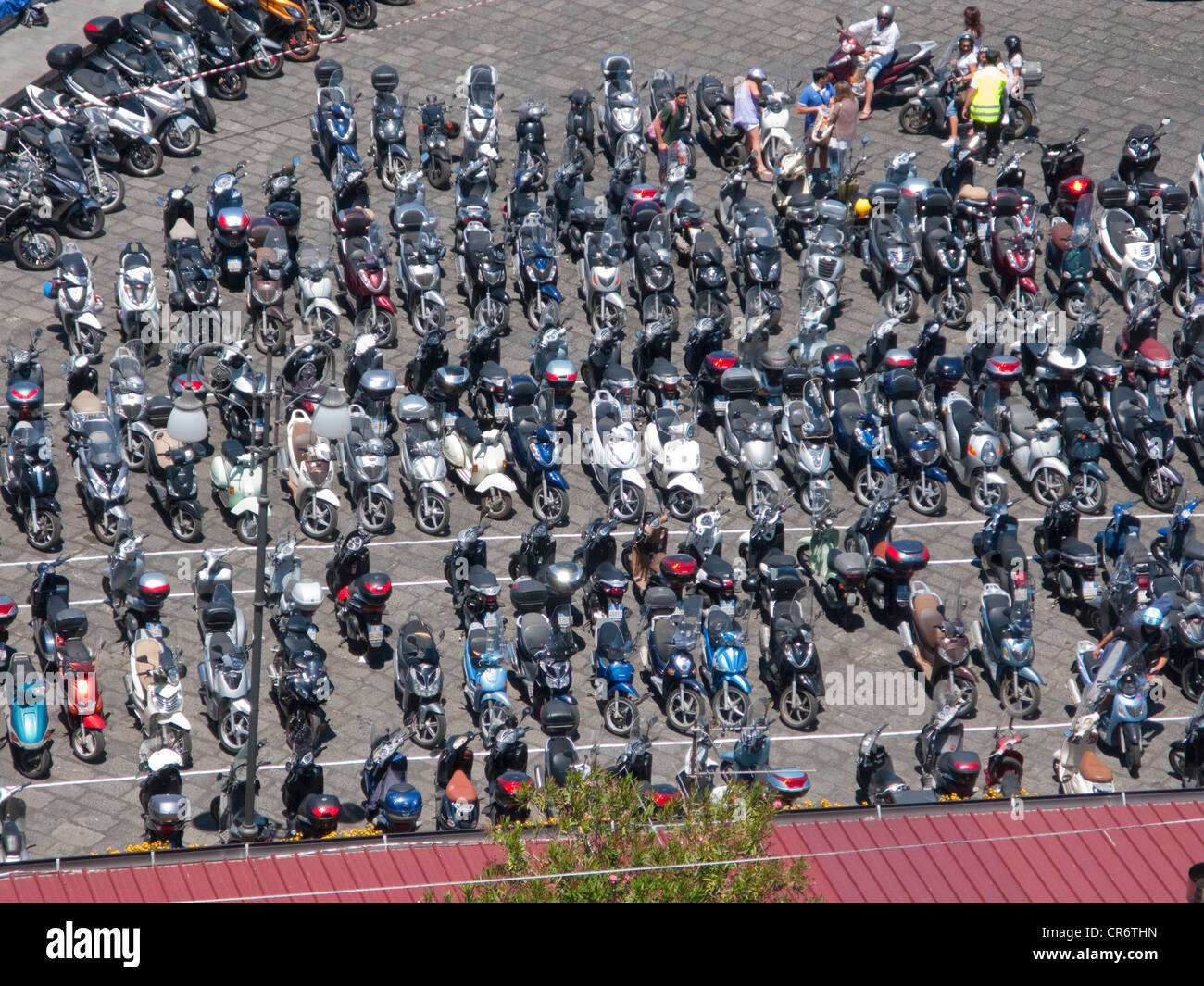 Countless scooters on the parking place of the Marina Grande, o, Peninsula of o, Gulf of Naples, Campania, Italy, - Stock Image